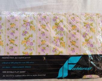 Fieldcrest Mills vintage Full/Double Flat Sheet, NIP New in Package, French Ribbon pattern, purple colorway