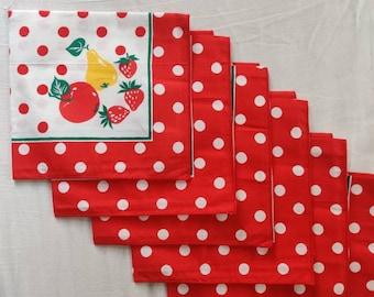 Vintage Table napkins, set of six, polka dots and fruit pattern.