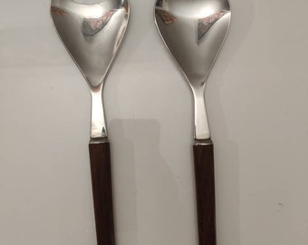 Lundtofte, Danish Mid century modern, salad serving set of two utensils, teal handles, stainless steel