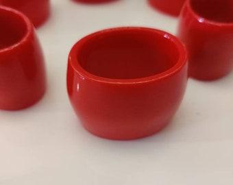 Vintage red melamine plastic napkin rings, set of six