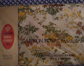 Cannon Royal Family Floral Twin Flat Sheet Petit Jardin pattern. NIP - New in package.