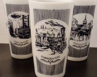 Hazel Atlas, Currier and Ives Summertime milk glass set of 4 glasses