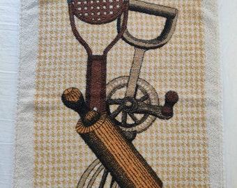 Vintage kitchen tools kitchen towel, cotton