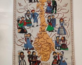 Runni Tekstiltrykk Norway Folk Art wall hanging, Map of Norway, cotton/linen mix