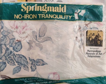 Springmaid vintage queen flat sheets, NIP New in Package, Metropolitan Museum of Art adaptation design