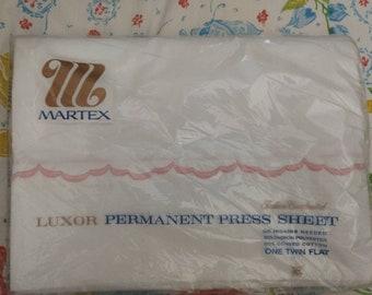 Martex Luxor Twin Flat Sheet, white colorway