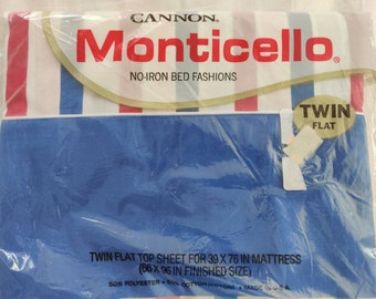 Cannon Monticello vintage twin flat sheet, NIP New in Package, Malibu Stripe pattern, red white and blue colorway
