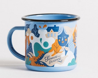 Colorful Enamel Mug - Diligences Soapery Enamel Mug - Illustrated by Sans Cravate, Coffee Mug, Tea, Herbal Tea, Zero Waste, Plastic-Free Mug