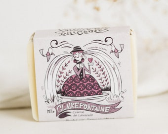 CLAIRE FONTAINE - LAVENDER Soap, All-Natural, Handcrafted Soap, Zero Waste Soap, Lavender Soap, Lavender Cream, Sensitive Skin, Eco-Friendly