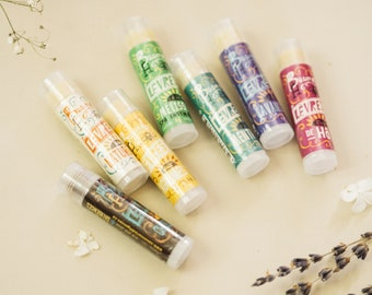 ADDICTED GIFT SET - Seven (7) Natural Lip Balms Gift Set. Moisturizing, Protective, Handcrafted Lip Balms for the Whole Family. Natural Gift