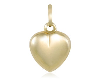 14K Yellow Gold Heart Pendant - Love Necklace Charm
