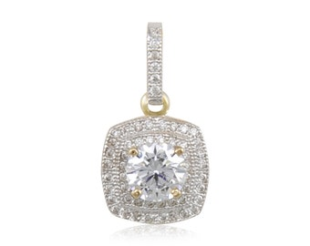10K Solid Yellow Gold Cubic Zirconia Round Square Pendant - Necklace Charm