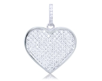 10K Solid White Gold Cubic Zirconia Heart Pendant - Love Necklace Charm