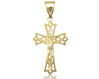 10K Solid Yellow Gold Crucifix Cross Pendant - Jesus Polished Plain Necklace Charm