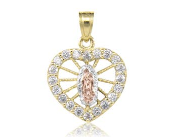 10K Solid Yellow White Rose Gold Cubic Zirconia Heart Virgin Mary Pendant - Tricolor Lady of Guadalupe Necklace Charm