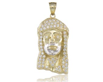 10K Solid Yellow Gold Cubic Zirconia Jesus Head Pendant - Face Religious Necklace Charm