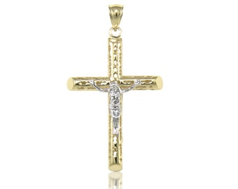 10K Solid Yellow White Gold Filigree Tube Crucifix Cross Pendant - Jesus Polished Necklace Charm
