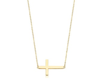 14K Solid Yellow Gold Sideways Cross Pendant Rolo Chain Necklace Set - Polished Charm