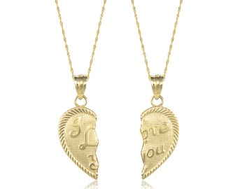 14K Solid Yellow Gold I Love You Half Heart Pendant 2 Singapore Chains Necklace Set - Charm