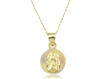 10K Solid Yellow White Rose Gold Virgin Mary Round Medal Pendant Singapore Chain Necklace Set - Tricolor Lady of Guadalupe Charm