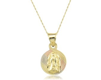 14K Solid Yellow White Rose Gold Virgin Mary Round Medal Pendant Singapore Chain Necklace Set - Tricolor Lady of Guadalupe Charm
