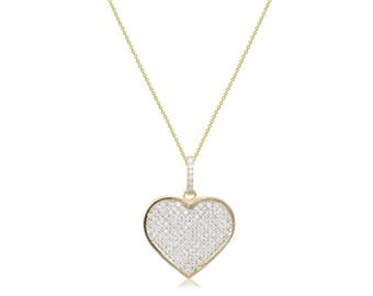 10K Solid Yellow Gold Cubic Zirconia Heart Pendant Rolo Chain Necklace Set - Love Charm