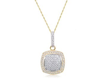 10K Solid Yellow Gold Cubic Zirconia Square Cluster Pendant Singapore Chain Necklace Set - Charm