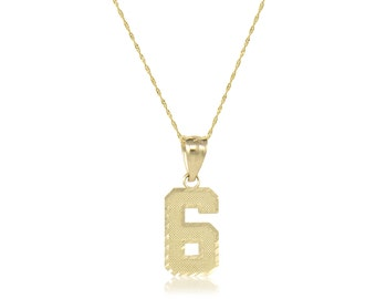 10K Solid Yellow Gold Number Pendant Singapore Chain Necklace Set - 0-9 Diamond Cut Charm