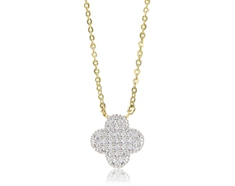 14K Solid Yellow White Gold Cubic Zirconia Flower Pendant Rolo Chain Necklace Set - Charm