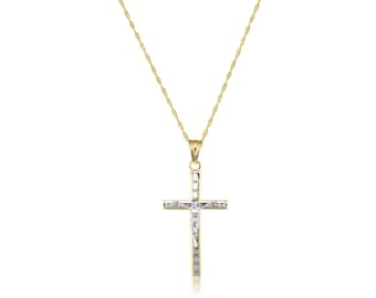 10K Solid Yellow Gold Cubic Zirconia Crucifix Cross Pendant Singapore Chain Necklace Set - Jesus Polished Charm