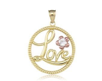 10K Solid Yellow Rose Gold Cubic Zirconia Love Circle Pendant - Flower Necklace Charm