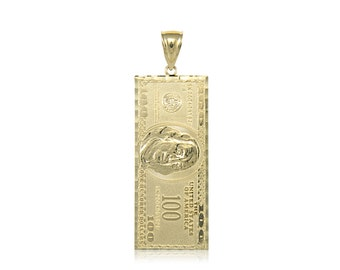 10K Solid Yellow Gold One Hundred Dollar Pendant - 100 Bill Money Necklace Charm