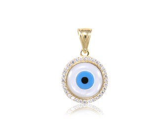 14K Solid Yellow Gold Cubic Zirconia Evil Eye Pendant - Good Luck Blue Necklace Charm