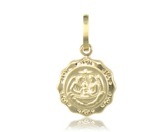 14K Solid Yellow Gold Baptism Medal Pendant - Round Necklace Charm