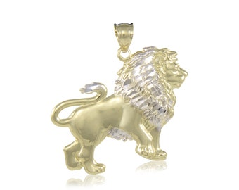 10K Solid Yellow White Gold Lion Pendant - Multi Tone Necklace Charm