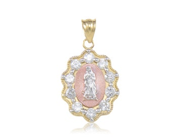 14K Solid Yellow White Rose Gold Cubic Zirconia Virgin Mary Pendant - Tricolor Lady of Guadalupe Necklace Charm