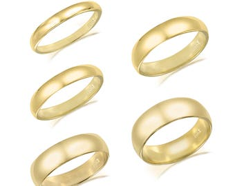 14K Solid Yellow Gold Regular Fit Plain Wedding Band Ring 2.0-6.0mm Size 5-13 - Polished