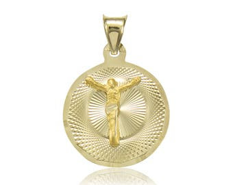 10K Solid Yellow Gold Jesus Round Medal Pendant - Christ Crucifix Necklace Charm