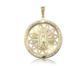 14K Solid Yellow White Rose Gold Cubic Zirconia Virgin Mary Round Medal Pendant - Tricolor Lady of Guadalupe Necklace Charm