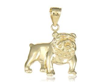 14K Solid Yellow Gold Bulldog Pendant - Dog Polished Necklace Charm
