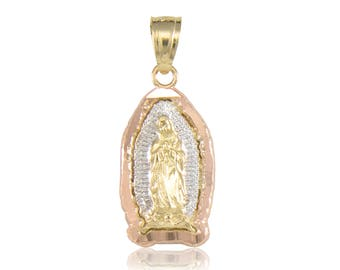 10K Solid Yellow White Rose Gold Virgin Mary Pendant - Tricolor Lady of Guadalupe Necklace Charm
