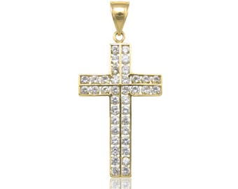 10K Solid Yellow Gold Cubic Zirconia Cross Pendant - Polished Necklace Charm