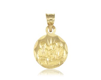 14K Solid Yellow Gold Baptism Round Medal Pendant - Necklace Charm
