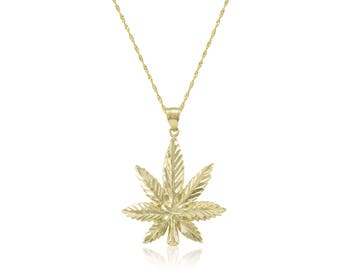 14K Solid Yellow Gold Marijuana Leaf Pendant Singapore Chain Necklace Set - Cannabis Weed Charm