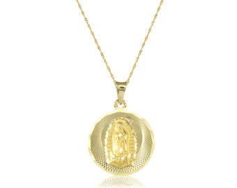 14K Solid Yellow Gold Virgin Mary Round Medal Pendant Singapore Chain Necklace Set - Lady of Guadalupe Charm