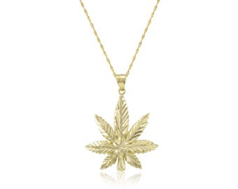10K Solid Yellow Gold Marijuana Leaf Pendant Singapore Chain Necklace Set - Cannabis Weed Charm