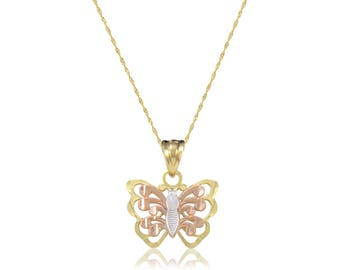 14K Solid Yellow White Rose GOLD Butterfly Pendant Singapore Chain Necklace Set - Charm