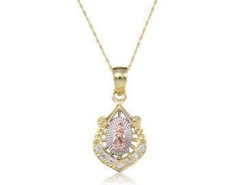10K Solid Yellow White Rose Gold Cubic Zirconia Virgin Mary Pendant Singapore Chain Necklace Set - Tricolor Lady of Guadalupe Charm