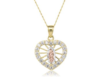 10K Solid Yellow White Rose Gold Cubic Zirconia Heart Virgin Mary Pendant Singapore Chain Necklace Set - Lady of Guadalupe Charm