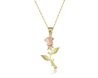 10K Solid Yellow Rose Gold Rose Pendant Singapore Chain Necklace Set - Flower Charm